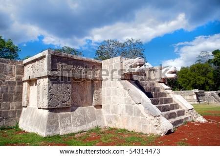 Platforma de jaguares y Aguilas, Chichen Itza, Yucatan, Mexico - stock photo