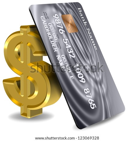 Platinum credit card leaning on a golden dollar symbol / Credit card and dollar - stock photo