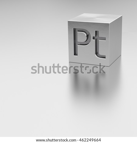 Platinum cube with Pt mark, 3D illustration, rendered model at reflective metal surface, square composition side front view