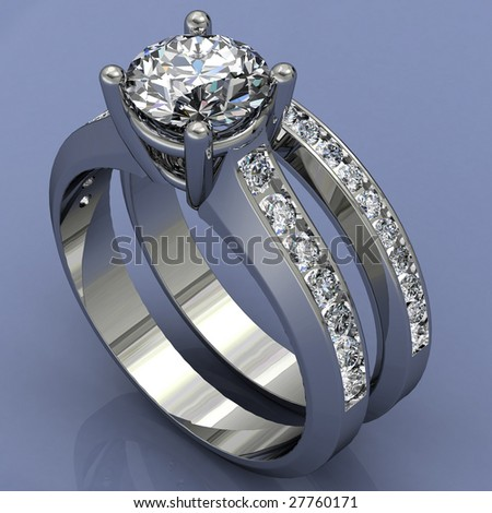 platinum diamond wedding ring set on blue reflective background