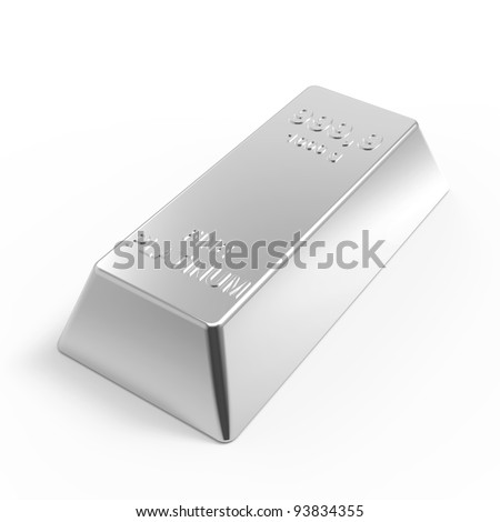 Platinum ingot isolated on white. Computer generated 3D photo rendering.