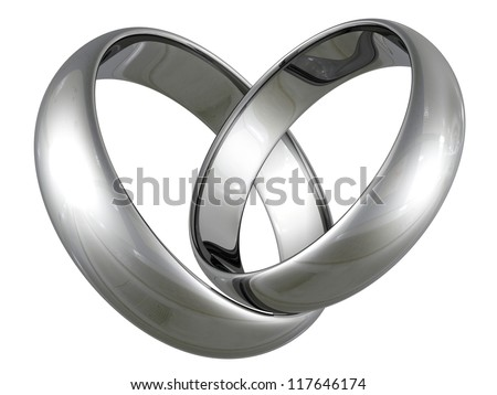Platinum or silver wedding rings in heart shape on white background - stock photo