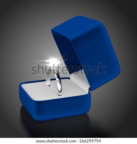 Platinum Ring with Blue Box - stock photo