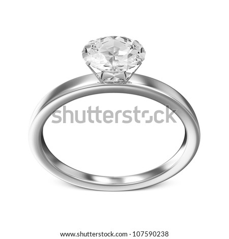 Platinum Wedding Ring with Diamond isolated on white background - stock photo
