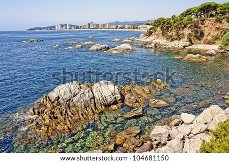 Platja d'Aro beach, a well known tourist destination (Costa Brava, Catalonia, Spain)