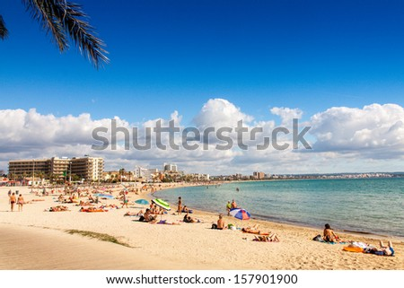 Platja de Palma Beach, Mallorca, Balearic Islands, Spain - stock photo