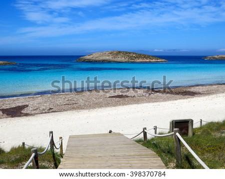 Platja de ses Illetes, a heavenly beach in Formentera (Balearic Islands) - stock photo