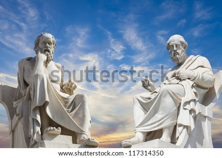 Plato and Socrates,the greatest ancient greek philosophers - stock photo
