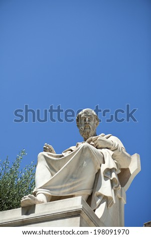 Plato statue at the academy of Athens