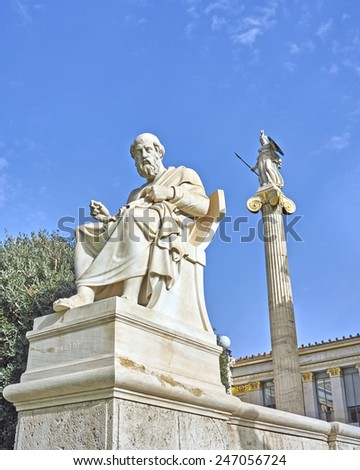 Plato the Greek philosopher and Athena statues - stock photo