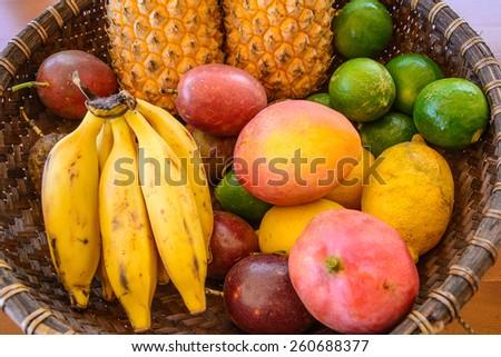Platter of tropical fruits, la Reunion island