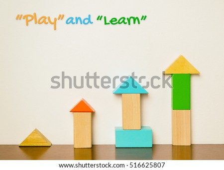 Play and learn education concept with colorful wooden toy