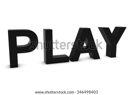 PLAY Black 3D Text Isolated on White with Shadows