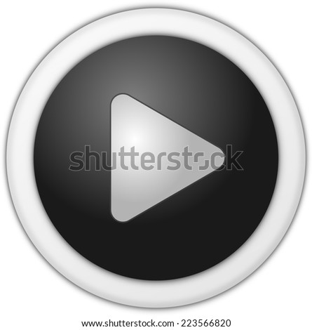 Play button black circle - stock photo