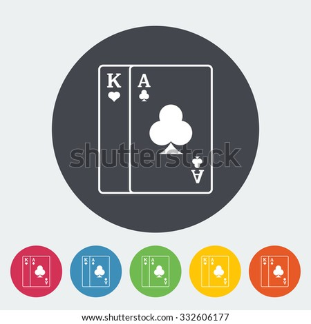 Play card. Single flat icon on the circle button. illustration.