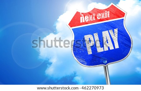 play, 3D rendering, blue street sign