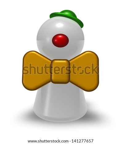 play figure clown on white background - 3d illustration