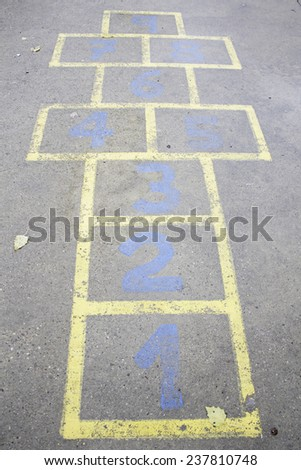 Play hopscotch playground, amusement and leisure - stock photo