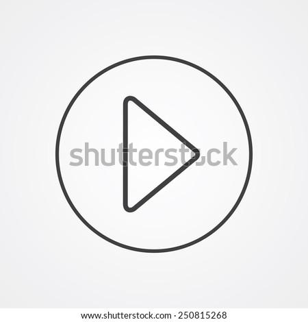 play outline thin symbol, dark on white background, logo creative template  - stock photo