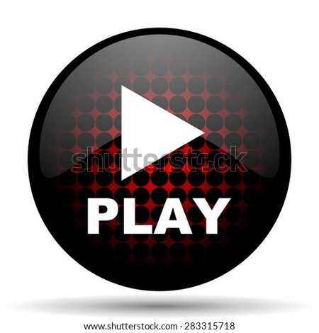 play red glossy web icon  - stock photo