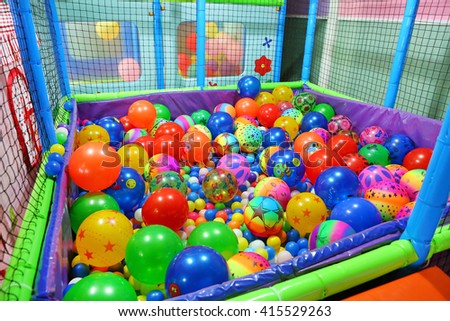 play room with colorful balls at hotel, Colorful plastic balls