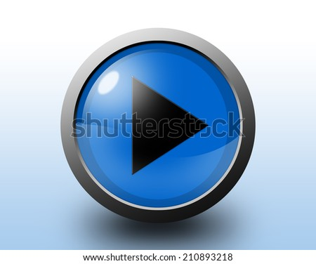 Play sign icon. Circular glossy blue button.