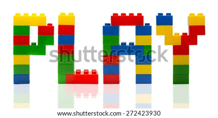 Play time word build from toy building blocks. - stock photo