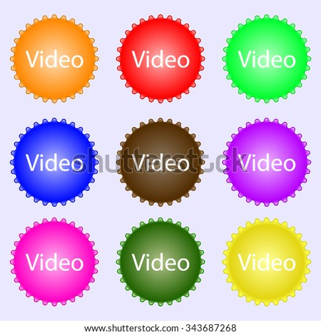 Play video sign icon. Player navigation symbol. A set of nine different colored labels. illustration