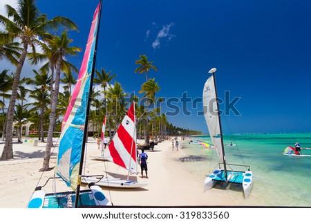 Playa Ba¡varo, Dominican Republic- April 19, 2015: Preparing for water sport activities - stock photo