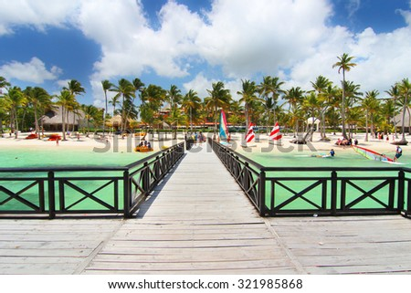 Playa Bavaro, Dominican Republic- April 19, 2015: View of the beach from pier - stock photo