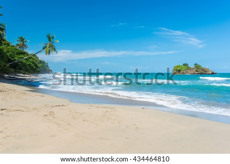 Playa Cocles - beautiful tropical beach close to Puerto Viejo - Costa Rica - stock photo