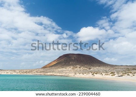 Playa Concina at La Graciosa, Canary Islands, Spain. - stock photo