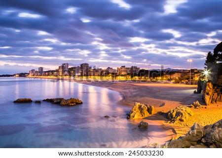 Playa de aro beach landscape, Costa Brava. Spain. - stock photo