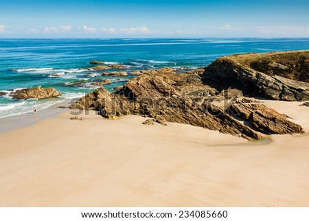 Playa de las Catedrales - Beautiful beach in the north of Spain. - stock photo