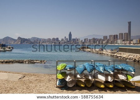 Playa de Levante, Benidorm, Costa Blanca, Spain, canoe racks, adventure and water sports.