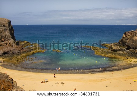 Playa de Papagayo (Parrot's beach) on Lanzarote, Canary islands, Spain - stock photo