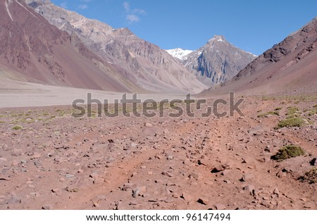Playa Grande, on the path to Plaza de Mulas base camp on Aconcagua Provincial Park, Mendoza, Argentina, South America. - stock photo