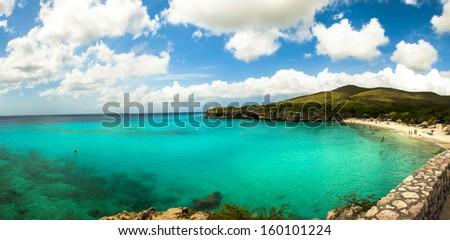 Playa Kenepa Grandi beach on Curacao - stock photo