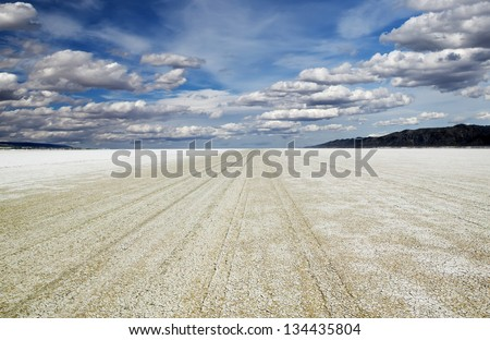 Playa of the Black Rock Desert east of Gerlach Nevada, site of the annual Burning Man festival every Fall. - stock photo