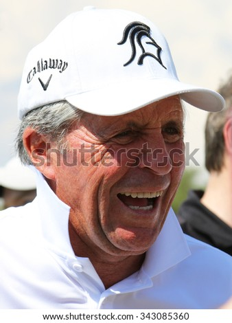 PLAYER, GARY - NOVEMBER 15: Tournament presenter Gary Player Playing at his Charity Invitational Golf Tournament cracking some jokes after the event on November 15, 2015, Sun City, South Africa.  - stock photo