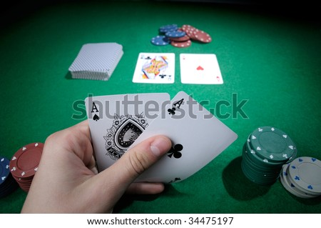 Player hold poker cards with two aces! - stock photo