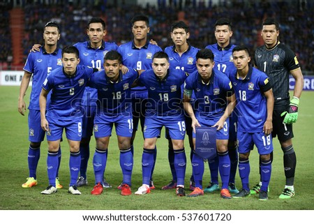 Players of Thailand  shot photo during the 2018 World Cup Qualifiers match between Thailand and Australia at Rajamangala Stadium on September 15, 2016 in Bangkok, Thailand