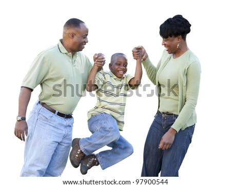 Playful African American Man, Woman and Child Isolated on a White Background. - stock photo