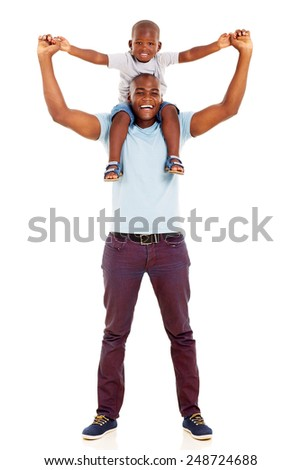 playful african father carrying son on his shoulders isolated on white background - stock photo