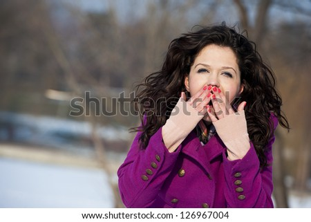 Playful amazed girl - stock photo