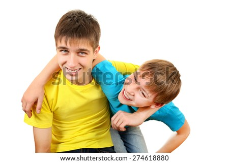 Playful Brothers Isolated on the White Background - stock photo