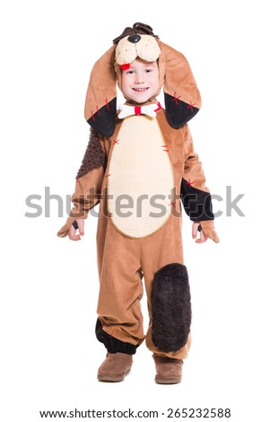 Playful little boy wearing like a dog. Isolated on white - stock photo