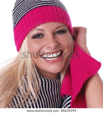 Playful Winter Woman - stock photo