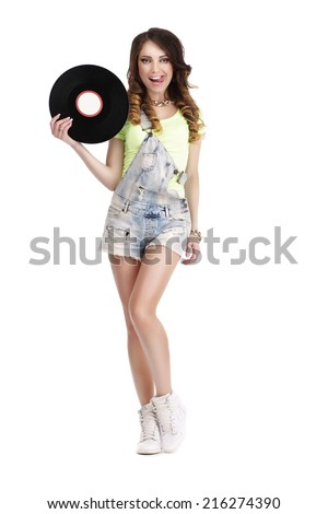 Playful Woman with Vinyl Record Licking her Lips and Smiling