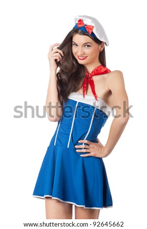 Playful young sailor woman smiling. High resolution image taken in studio. Isolated on white with copy-space for your text - stock photo